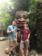 Boys with totem pole
