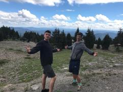 Boys in front of view from Timberline Lodge