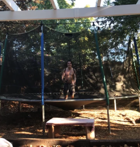 James on the trampoline