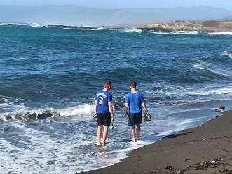 The boys' first time in the Pacific Ocean