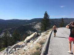 Walking along the highway in Yosemite