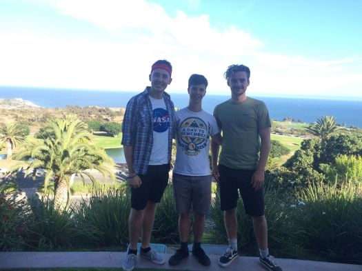 Boys behind chapel at Pepperdine